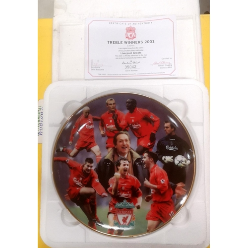 33 - Boxed Danbury Mint 2001 Liverpool FC limited edition treble winners collectors plate with COA...