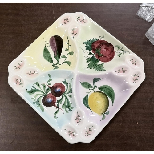32 - Approx 34 x 34 cm Italian hand painted 4 sectioned serving dish...