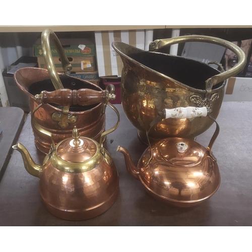 12 - Bundle of 2 x brass coal buckets and 2 x brass/copper kettles...