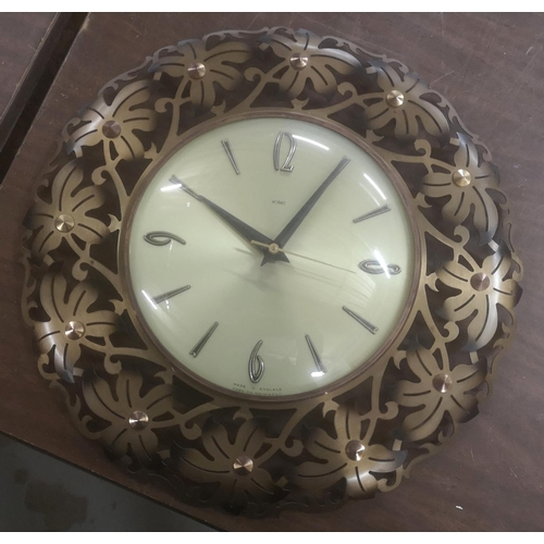 6 - Approx 32 cm diameter pierced metal framed retro Metamec wall clock...