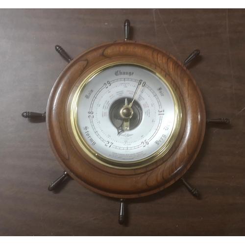 4 - Approx 22 cm diameter vintage Shortland Smith ships wheel wall barometer...