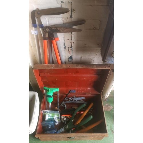 2 - Old metal trunk with assorted garden tools etc. including 3 x pairs of long handled clippers...