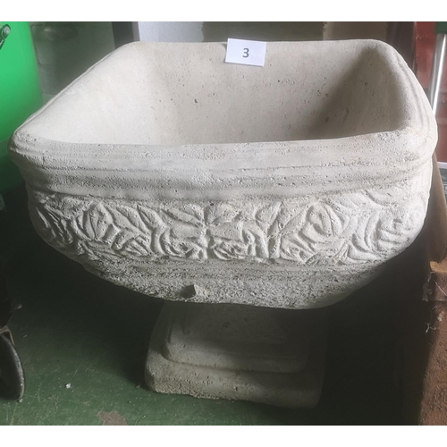 3 - Approx 39 x 39 x 37 cm ornate square shaped planter decorated with roses...