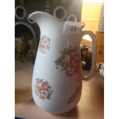 16 - 30 cm tall floral patterned empire ware jug...