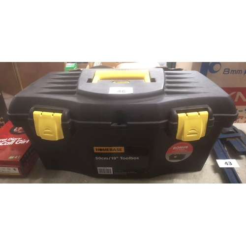 46 - Homebase 50 cm plastic toolbox with set of Talco screwdrivers...