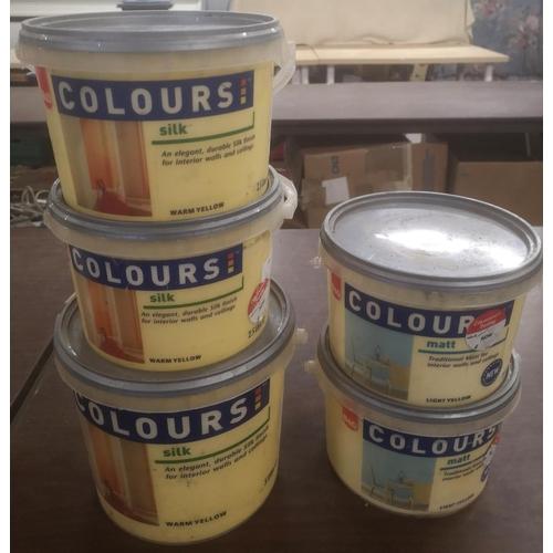 37 - 1 x 5 and 2 x 2.5 ltr warm yellow silk & 2 x 2.5 ltr light yellow matt B&Q Colours paint...