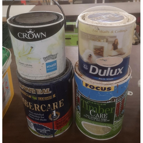 3 - 2 x tins of half full timbercare, full crown cream white emulsion & Dulux natural hessian paints...