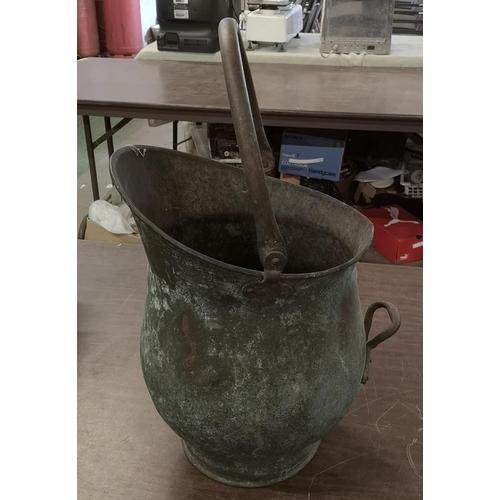 40 - Vintage brass coal bucket...