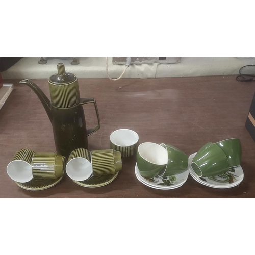 53 - British Anchor coffee pot, sugar bowl and 4 x cups and saucers & 4 x Midwinter cups and saucers...