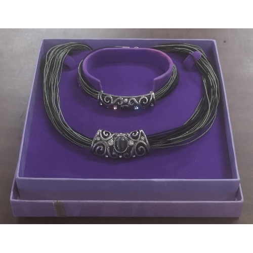 23 - Jewelled fashion jewellery necklace and bracelet set in box...