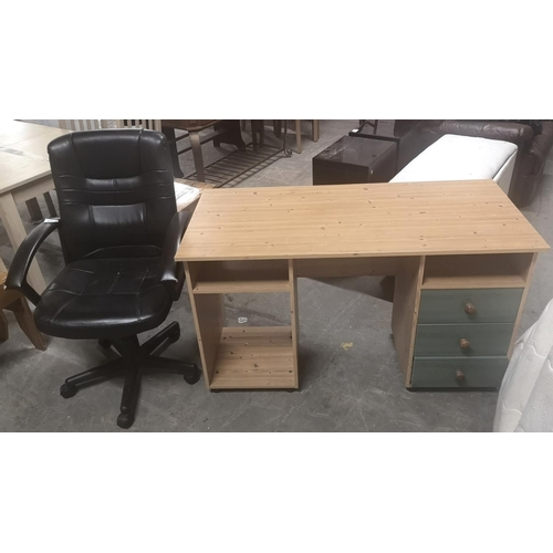 271 - 126 x 59 x 73 cm pine look desk with coloured front drawers & faux leather office chair...
