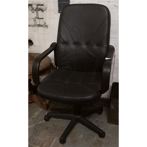 276 - Black faux leather office chair...