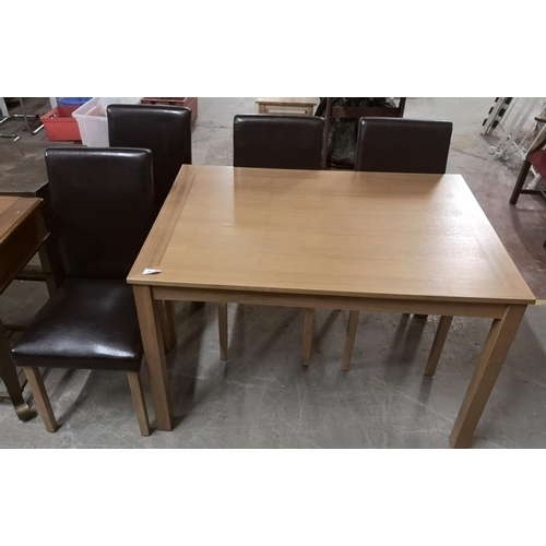 278 - 118 x 81 cm dining table with 4 x faux leather high back dining chairs...