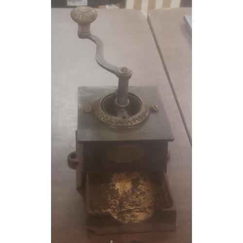 38 - Vintage cast Kendrick counter top coffee grinder...