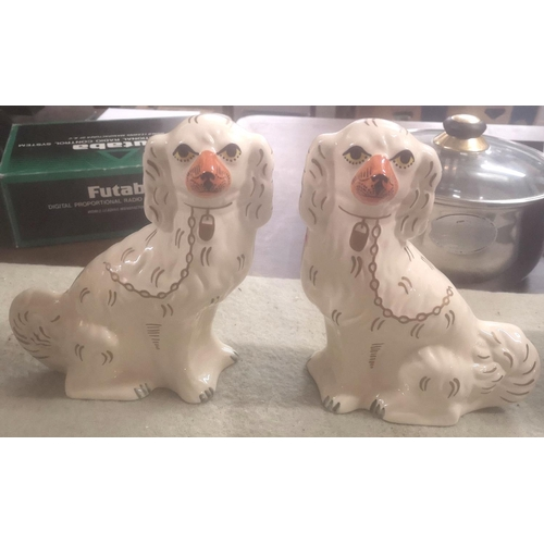 21 - Pair of 25 cm tall Moorland fireside spaniel ornaments by Chelsea Works...
