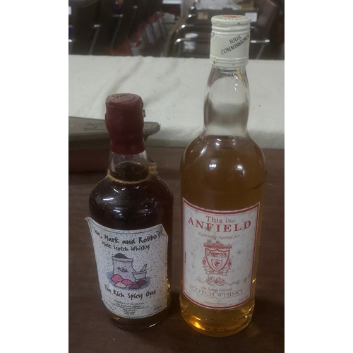 36 - 2 x unopened bottles of whisky being Liverpool FC Anfield 70 cl & 50 cl Jon, Mark and Robbos special...
