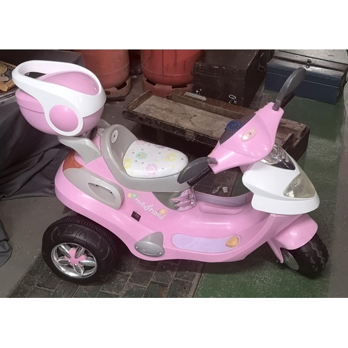 51 - Geoby girls pink sit and ride electric scooter with charger, some charge on arrival but possibly nee...