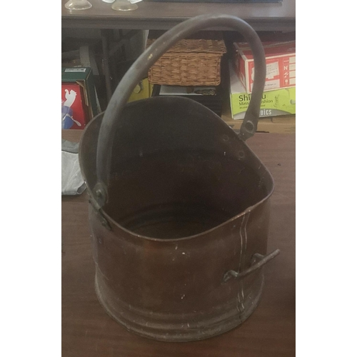 19 - Old brass and copper coal bucket...