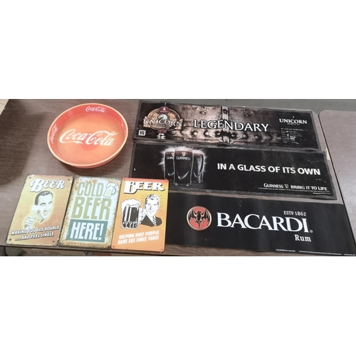 37 - Breweriana bundle of 3 x bar mats, 3 x beer tin signs and a coca cola round tray...