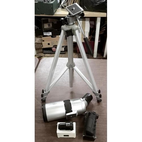 46 - Seben f86 mm D 70 mm telescope with tripod, scope holder & 3 x Barlow lens...