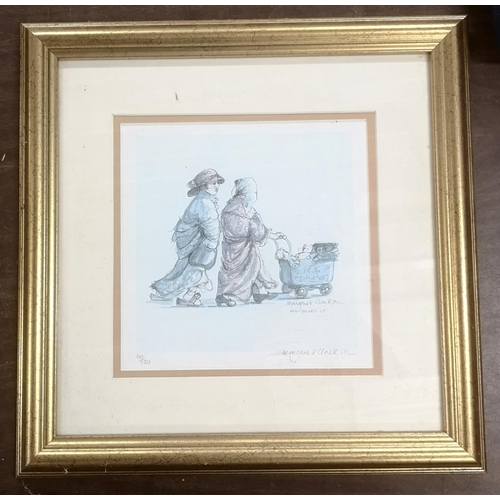 8 - 35 x 35 cm gilt framed and mounted MARGARET CLARKSON limited edition picture , 116/500, titled 'all ...