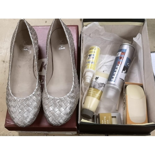 47 - Boxed and unworn wide fitting K by Clarks silver leather ladies shoes size 6.5 & assorted Clarks sho...