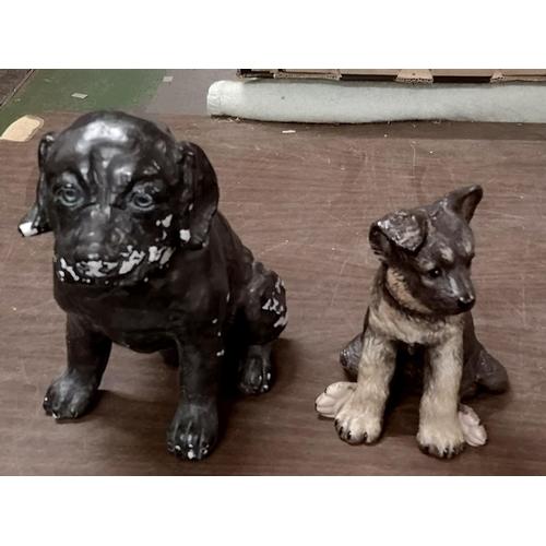 300 - 24 cm tall vintage painted plaster dog figure and smaller Lenox Porcelain German Shepherd puppy figu...