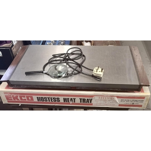 348 - Retro Ekco HT 13 SS large stainless steel hostess heat tray in original box...