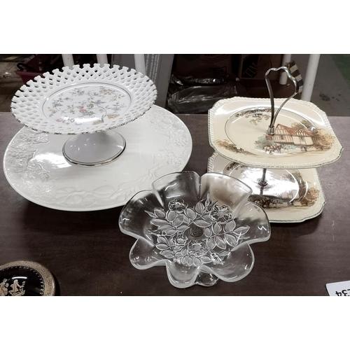324 - 4 x assorted glass and ceramic cake plates...