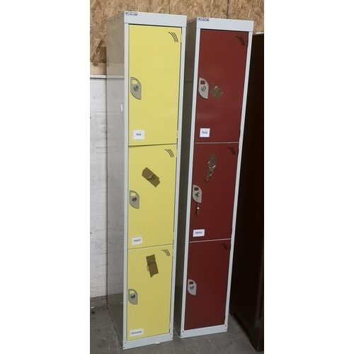 331 - Pair of 30 x 45 x 181 cm tall 3 compartment metal storage lockers, only 4 keys present...