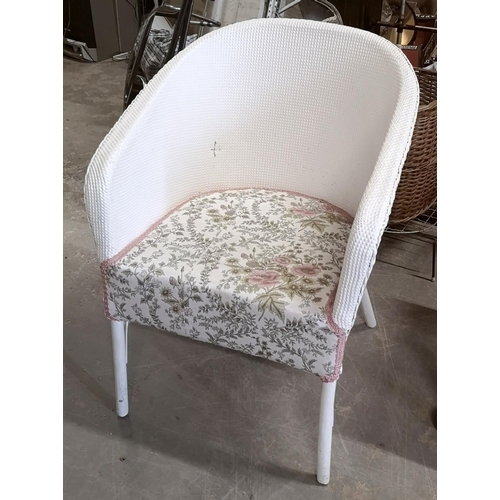 339 - White Lloyd Loom tub chair...
