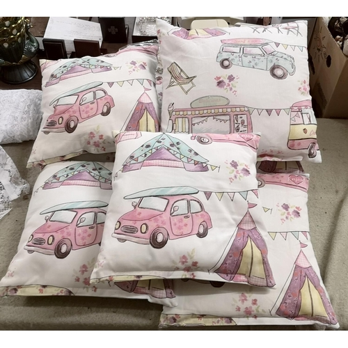 47 - 7 x hand made female childs room scatter cushions...