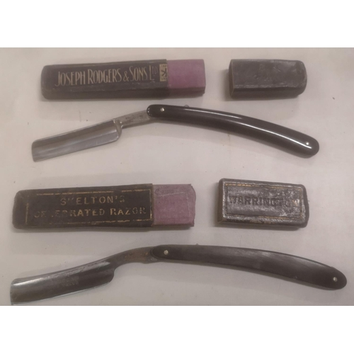 13 - 2 x vintage straight razors in cases being Joseph Rodgers & Skeltons celebrated...