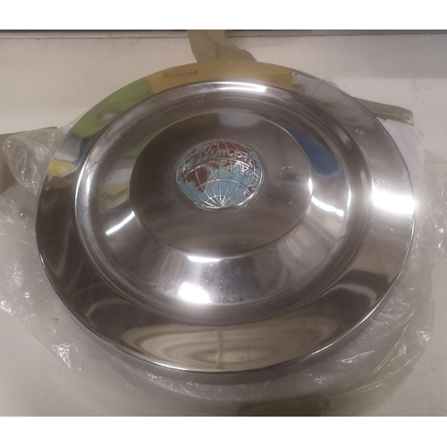 27 - Set of 4 x chrome wheel trims with Triumph coloured badge centre...