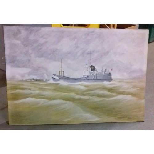 43 - 76 x 50.5 cm unframed amateur art painting on board of naval boat offshore, initialled and dated VB ...