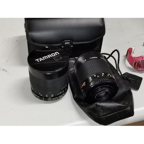 47 - Tamron SP f=500 tele macro lens in case & other f=500 macro mirror lens...
