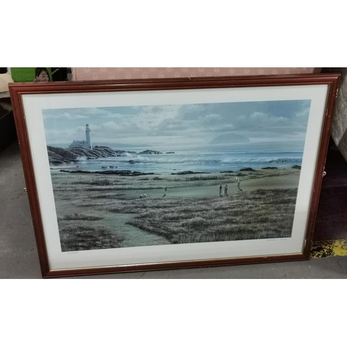 38 - 74 x 54 cm framed golfing print of Turnberry from an original Raymond Sipos painting...