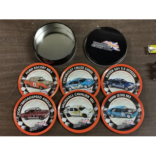 22 - Atlas Editions set of 6 x touring car coasters in tin...