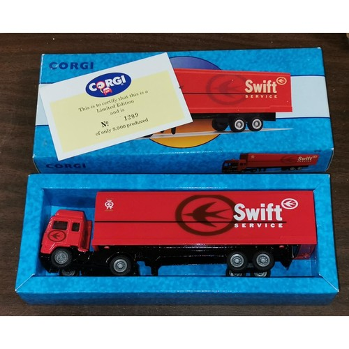 31 - Boxed and mint Corgi Classics limited edition 98100 Swift Services Volvo container...