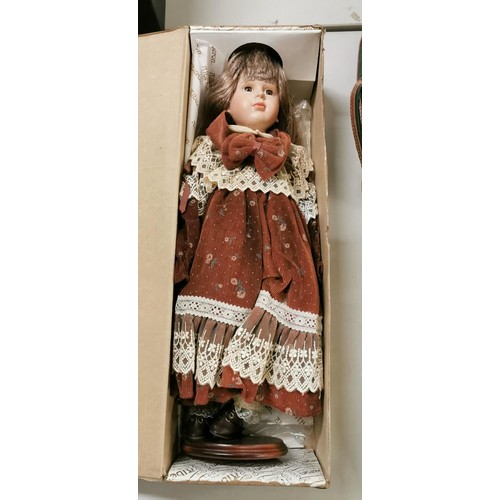 37 - Boxed 50 cm tall Alberon female collectors porcelain doll...