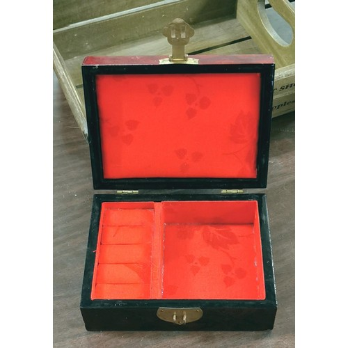 18 - 16 x 12 x 7 cm wooden jewellery box with carved cork scene top...
