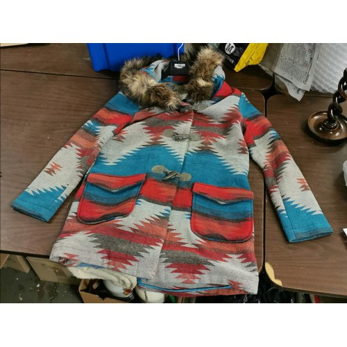 39 - BB Dakota full length ladies Aztec style coat size S...