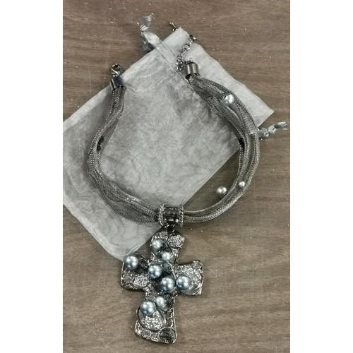 59 - New gunmetal necklace with 9 x 6.5 cm metal art cross pendant...