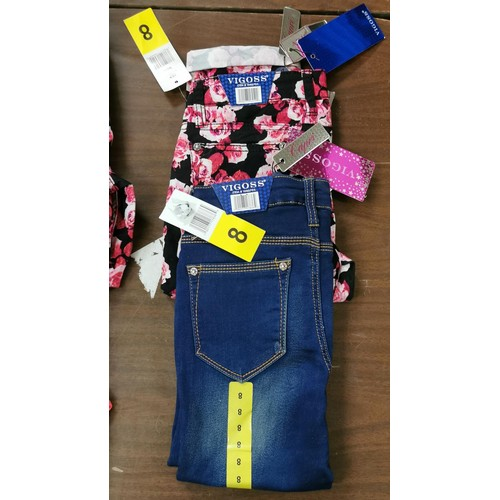 16 - 2 x new and tagged pairs of Vigoss 3/4 girls leggings age 8...
