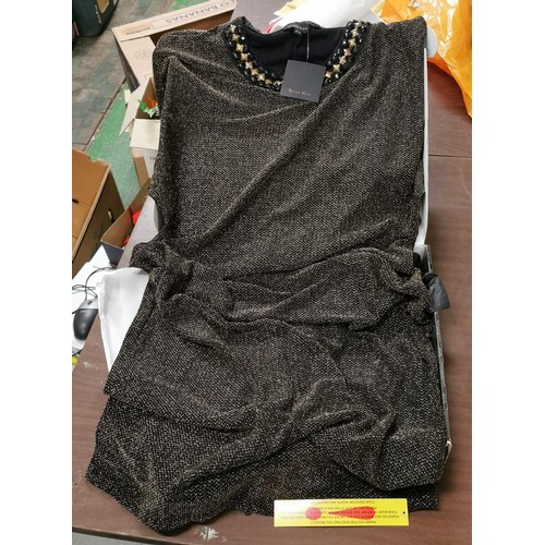 33 - New and boxed Roland Klein gold and black ladies full length dress size 12...