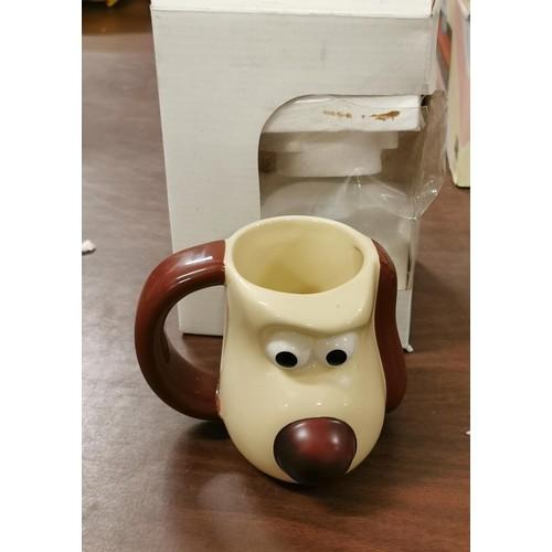 2 - Boxed and unused 2005 Gromit hand painted mug for Typhoo Tea