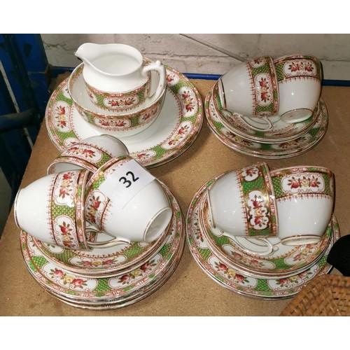 32 - Victorian heirloom china tea set consists of 2 x sandwich plates, 9 x side plates, 10 x saucers, 7 x...