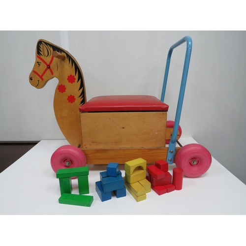 7 - Rare Vintage Child's Push Along Toy, With Storage & Building Blocks H 30cm x L 64cm x W 60cm....