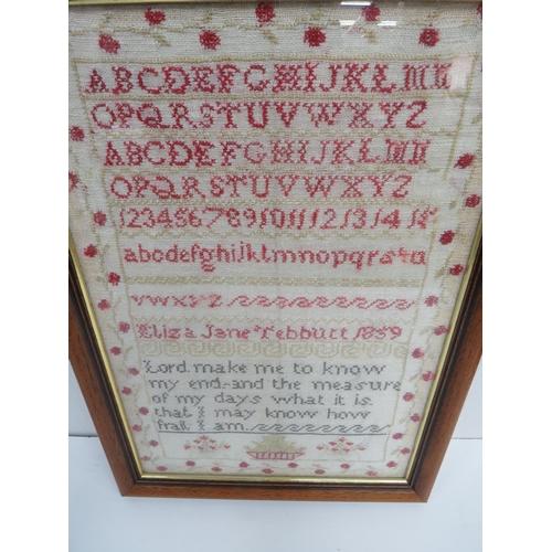 8 - Victorian Alphabet & Prayer Sampler by Eliza Jane Tebbutt Dated 1859 H x 47cm x W x 37cm....