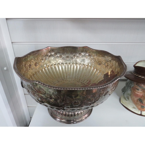 25 - Plated Punch Bowl (Plate Worn)...